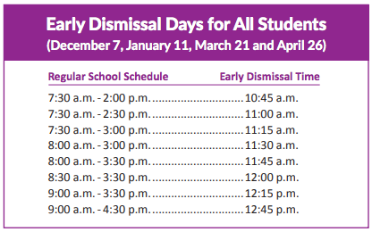 Early Dismissal Dates and Times