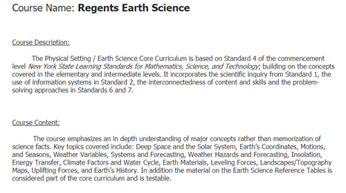 Earth Science Course Description and Content