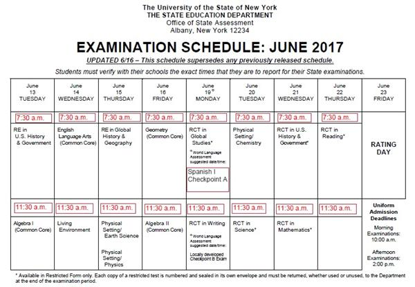June 2017 Regents Schedule Overview