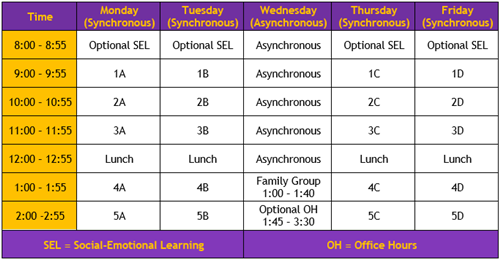 "East distance learning ""bell schedule"""