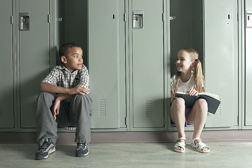 Students at lockers