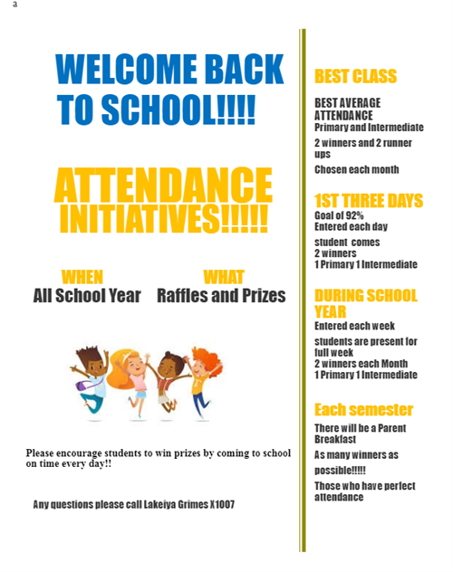 attendance incentives. students win prizes by coming to school. 2 winners and 2 runners up each month. Parent breakfast, etc