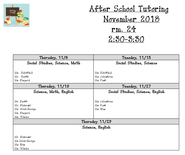 November Tutoring Schedule