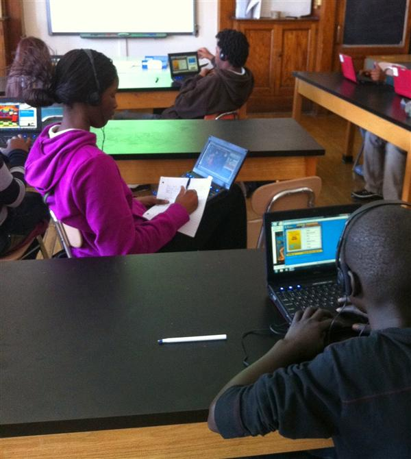 Students working on netbooks in science class