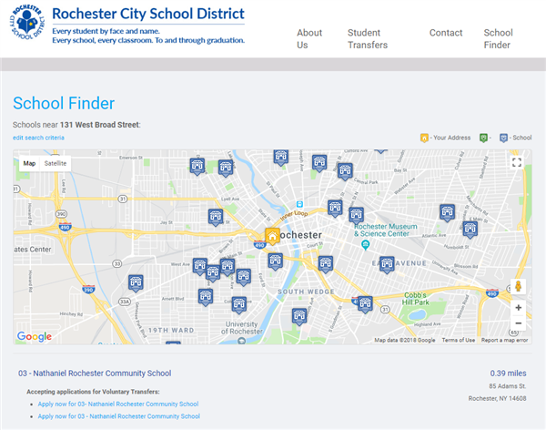 School Finder helps families find a child's home school in a map or list view and quick, easy access to enrollment/transfers