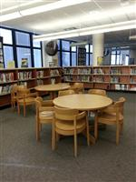 library tables and shelves