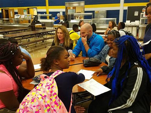 Superintendent meets formally with students and teachers