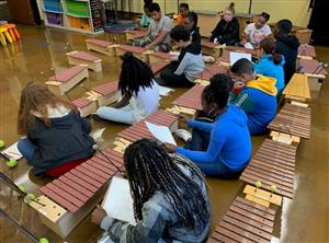 students working with xylophones