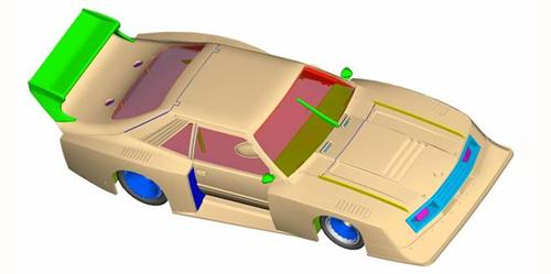1/32 Scale Mustang GTP drawn with Inventor software