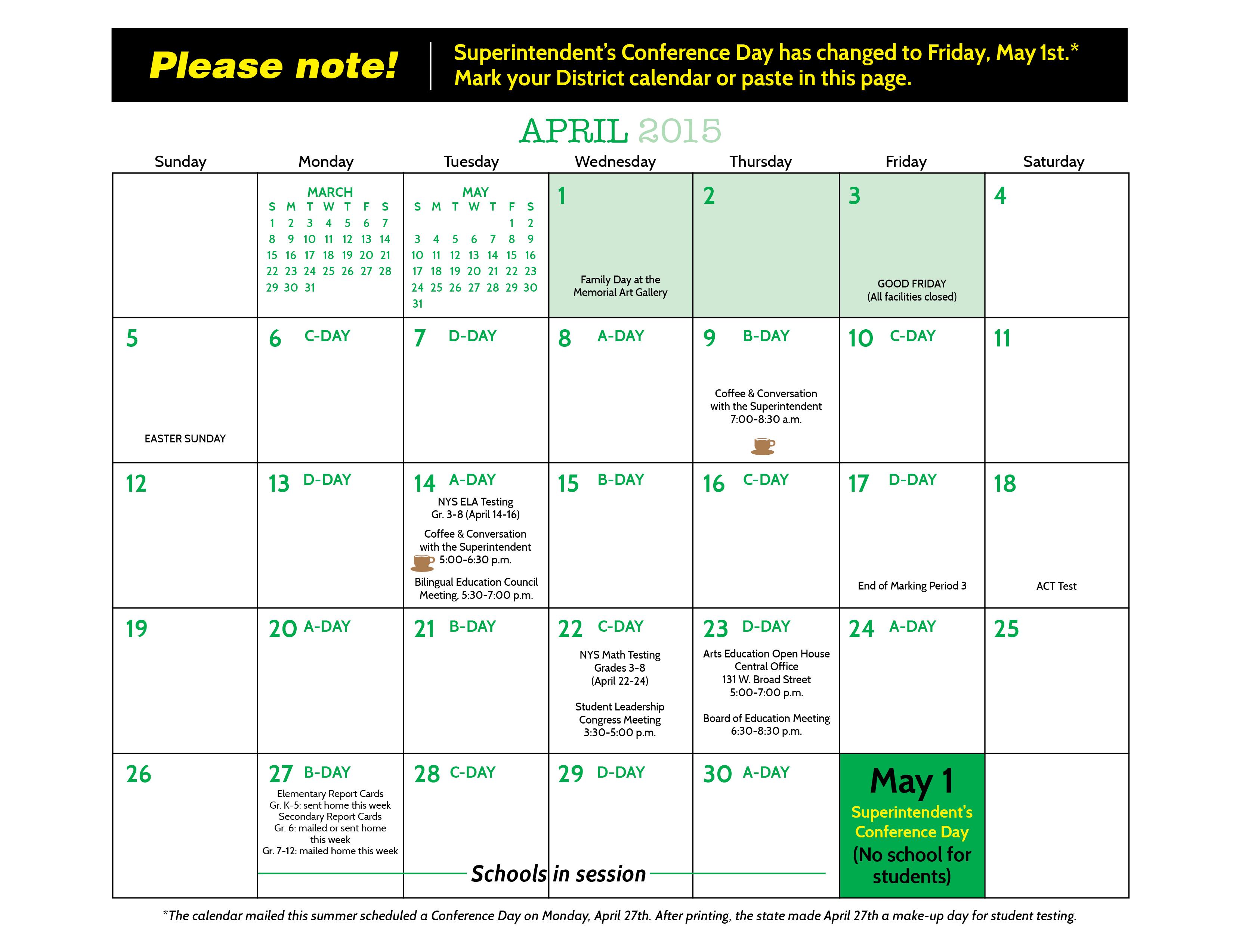 Rochester City School District Calendar