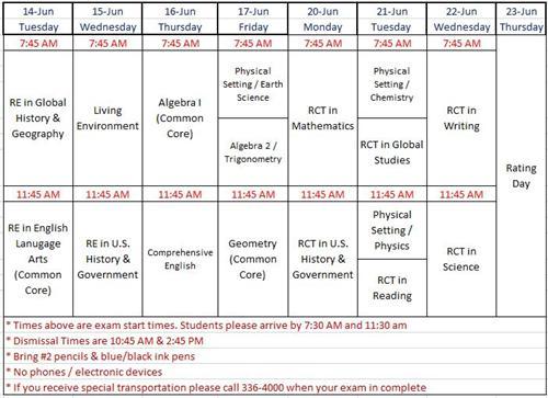 Regents Calendar June : June regents schedule overview