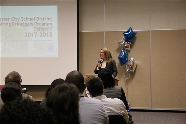 Superintendent addressing staff