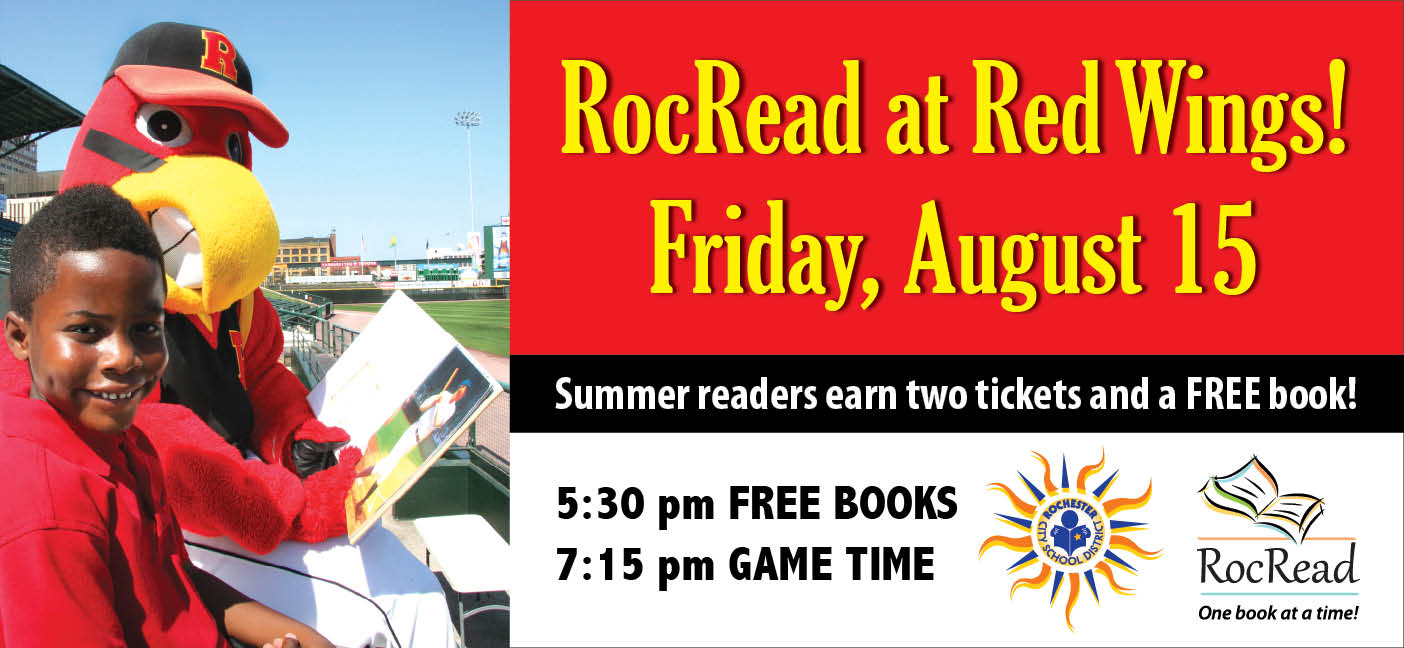 Join us August 15th at Frontier Field for Books and Baseball!