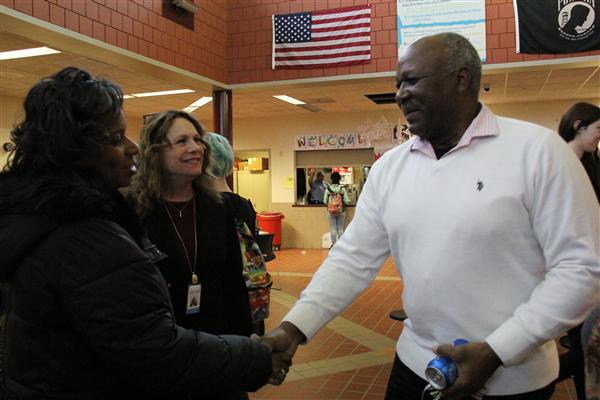 Superintendent and Dr. March meet one of the teachers from School Without Walls